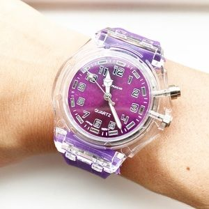 Retro Geneva clear plastic & purple rubber watch